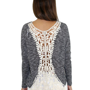 Black And Ivory Top With Crochet Back