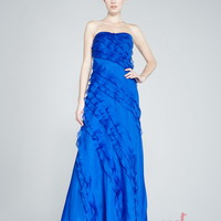 Sheath/Column Strapless Floor-length Chiffon Zipper Prom Dress at Msdressy
