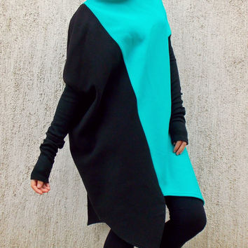 Plus Size Asymmetrical Quilted Cotton Sweatshirt / Oversize Loose Quilted Dress  TDK70/ FALL WINTER 2014/15