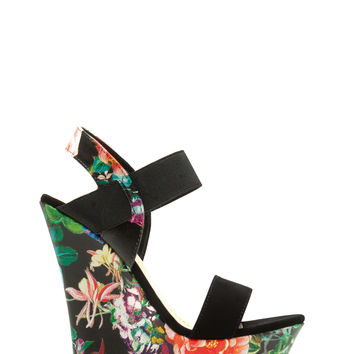 I'm With The Band Floral Wedges