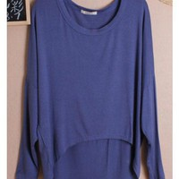 Women Autumn Euro Style Simple Loose Bat-wing Sleeve Royal Blue Cotton Shirt One Size@WH0036robl $8.37 only in eFexcity.com.