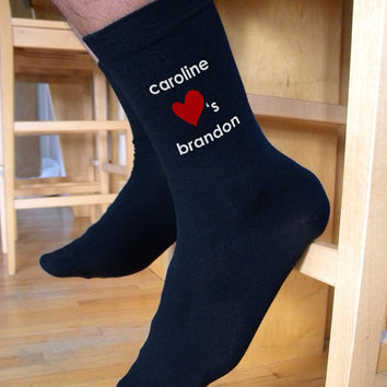 Couple Love Socks, Valentine Socks, Custom Printed Personalized Men's Flat Knit Black Dress Socks, Valentine Gift Idea, Engagement Gift Idea