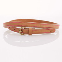 Skinny Leather Belt with Stitching