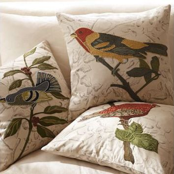 Embroidered Throw Pillows Pottery Barn : Bird Embroidered Pillow Covers Pottery from Pottery Barn ...