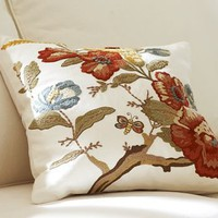 Katherine Floral Embroidered Pillow Cover | Pottery Barn