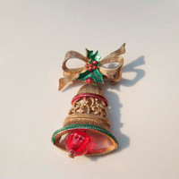 Vintage GERRY'S Christmas Bell Brooch Pin Gold toned