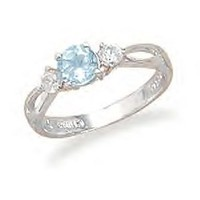 Split Band Blue Topaz Ring