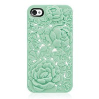 Unique Design Mint Rose Embossing Case for iPhone 4/4S