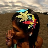 Rainbow Marijuana Leaf Hair Clip and Headband in One