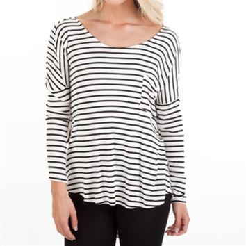 Double Zero Juniors Striped Tee with Drape Back at Von Maur