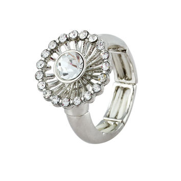 Dandelion White Rhinestone Sectional Band Simple Ring - Dandelion White Rhinestone Sectional Band Simple Ring