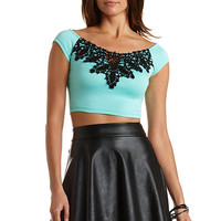 Off-The-Shoulder Crochet Crop Top by Charlotte Russe - Mint