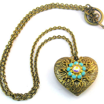 Victorian Puffed Heart Pendant, Valentine Necklace, Vintage Heart Jewelry