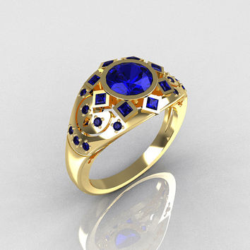 Modern Edwardian 14K Yellow Gold 1.0 Carat Round Blue Sapphire Princess Pave Ring Y258-14KYGBSS