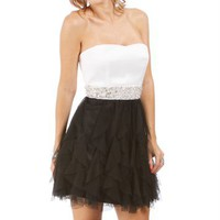 Ivory/Black Cascade Ruffle Dress