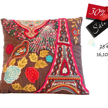 Tour Eiffel pillow, in cotton embroidered