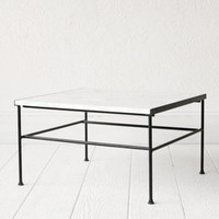 Iron and Marble Coffee Table Mid Century