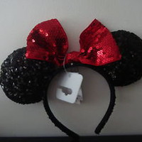DISNEY'S MINNIE MOUSE BLACK & RED SEQUINED EARS HEADBAND NWT