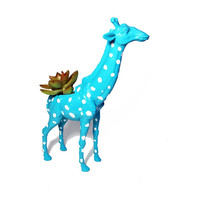 Up-cycled Tropical Blue Giraffe Animal Planter