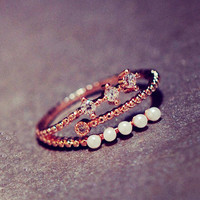 Pearl And Rhinestone String Cuff Ring (Slightly Adjustable)