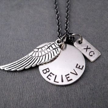 FLY XC BELIEVE Round Pendant Necklace - Pewter Wing and Nickel pendants priced with Gunmetal chain