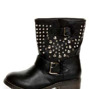 Bamboo Italo 03 Black Studded Motorcycle Ankle Boots - $59.00