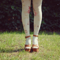 tinywardrobe ? tights8 floral white