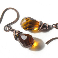 Wire wrapped topaz earrings - copper & faceted cognac glass - crystal dangles