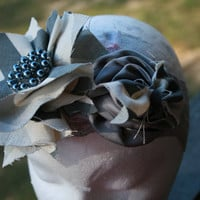 Grey Chevron Rosette Headband