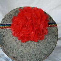 Glitter Rainbow Elastisc Headband with Red Chiffon and Lace Rosette