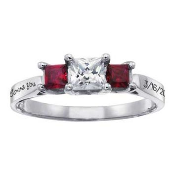 Sterling Silver Three Stone Princess-Cut Simulated Birthstone Garland Ring by ArtCarved® (3 Stones and 2 Lines)