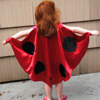 Handmade Child Cape Lady Bug Costume  Halloween Photo Prop Red