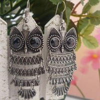 Wholesale Fashionable Vintage Owl Long Earrings Antique Silver