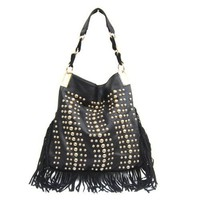 Studded Leather Fringe Bag, Gold tone hardware, Fringes made of real leather, LY121H026Black