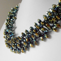 Beaded Jewelry Chunky Necklace Crystal Multistrand Metallic Peacock Green Teardrops Holiday Jewelry Beaded Necklace