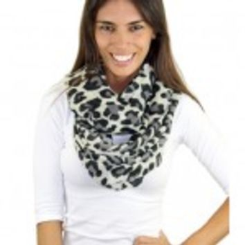 Infinity White Leopard Print Scarf