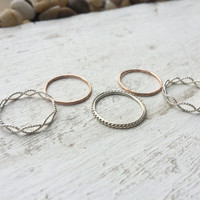 Mixed Metal Lace - Set of 5 Sterling Silver and 14k Rose or Yellow Gold Fill Stacking Rings - custom made to order
