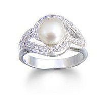 Amazon.com: STERLING SILVER pearl and CZ swirl ring, size 7 Cheline: CHELINE: Jewelry
