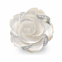 Amazon.com: Semi-Precious Stone Carved Mother of Pearl Flower Cocktail Ring with Gift Box: Jewelry