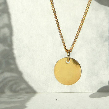 Tiny Gold Plated Necklace, Round Gold Plated Charm & Chain, Sterling Silver 24K Gold Plated Jewelry, Small Necklace, Made in Europe, Artida