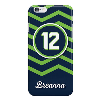 12th Man Seattle Chevron Blue and Green iPhone or Samsung Galaxy Case, 12th Man Phone Case, Seattle Colors Phone Case, Football iPhone