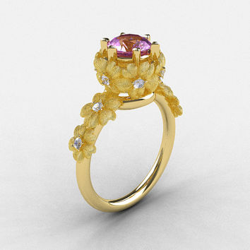 Natures Nouveau 14K Yellow Gold Lilac Amethyst Diamond Flower Engagement Ring NN109S-14KYGDLA