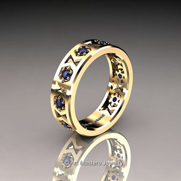 Womens Modern 14K Yellow Gold Blue Sapphire Formal Wedding Band R535F-14KYGBS