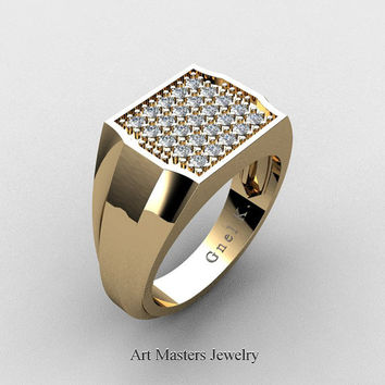 Mens Modern 14K Yellow Gold Micro Pave Diamond Designer Ring R326M-14KYGD