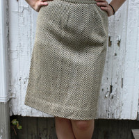 Wool Pencil Skirt  1960s Size 46 by SucreSucre on Etsy