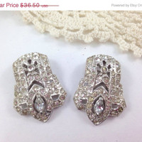 VALENTINES SALE Gorgeous Decorated Rhinestone Duette Brooch Clips Pat 1852188 Silver Pot Metal, Old Vintage Jewelry 1932 shoe clips  Brooche
