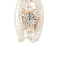 Braided Faux Leather Cuff Watch by Charlotte Russe - White
