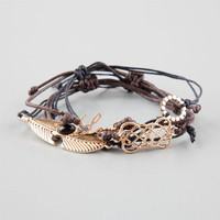 Full Tilt 4 Piece Feather/Love/Geo Bracelets Brown One Size For Women 25259740001