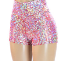 Silver on Red (PINK!) Shattered Glass High Waist Shorts