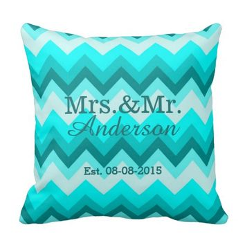 modern ombre turquoise chevron mr and mrs pillow